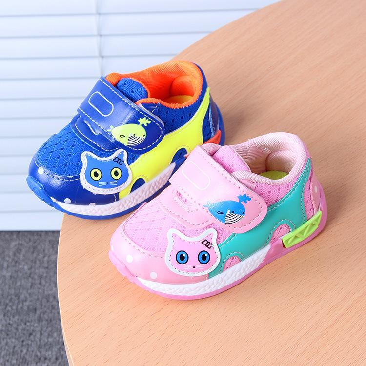 Toptan-Astarı 11.5-13.5 cm Yeni Çocuk Bebek Sinsi Kız Erkek için Nefes Örgü Toddler Ayakkabı