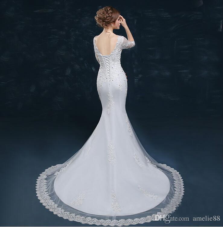 Designer Vintage Lace Wedding Dresses V Collar Long Sleeves Cheap ...