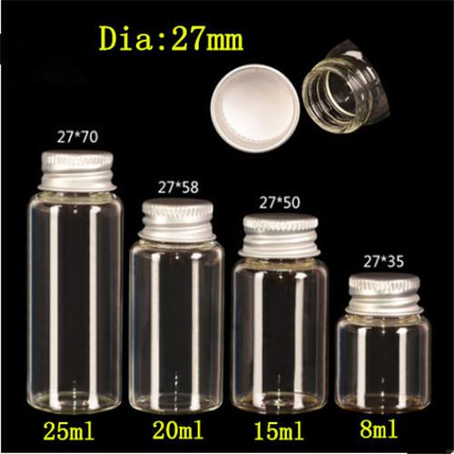 Perfumes glass bottle glass jar ,small , mini Essential Oils Bottle Vial Empty Clear Transparent Glass Bottles With Aluminium Cap Lid jars1