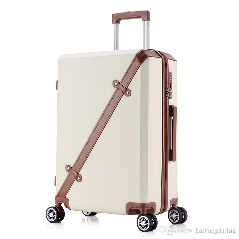 20 24 Inch Rolling Luggage Business Travel sports 4 Wheels Suitcases Bag Waterproof High Quality Retro Trolley Case Large capacity