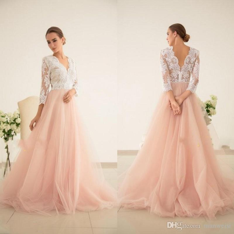 Discount Simple Vintage Blush Pink Wedding Dresses Plus Size 3/4 Sleeve V  Neck Lace Appliqued Cheap Bridal Gowns Bridal Wedding Dresses Bride Gowns  ...