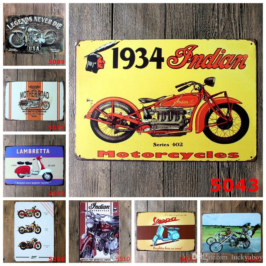 Motocicleta Vintage Craft Cartel de chapa Retro Metal Pintura Antiguo Hierro Cartel Bar Pub Signos Arte de la pared Etiqueta (Diseños mixtos)