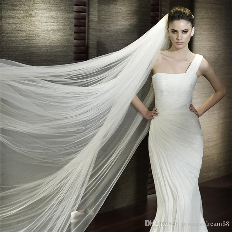 Brand New 3M Bridal Veils with Cut Edge One-layer Soft Tulle White/Ivory Wedding Accessories With Comb Stock Long Wedding Veil