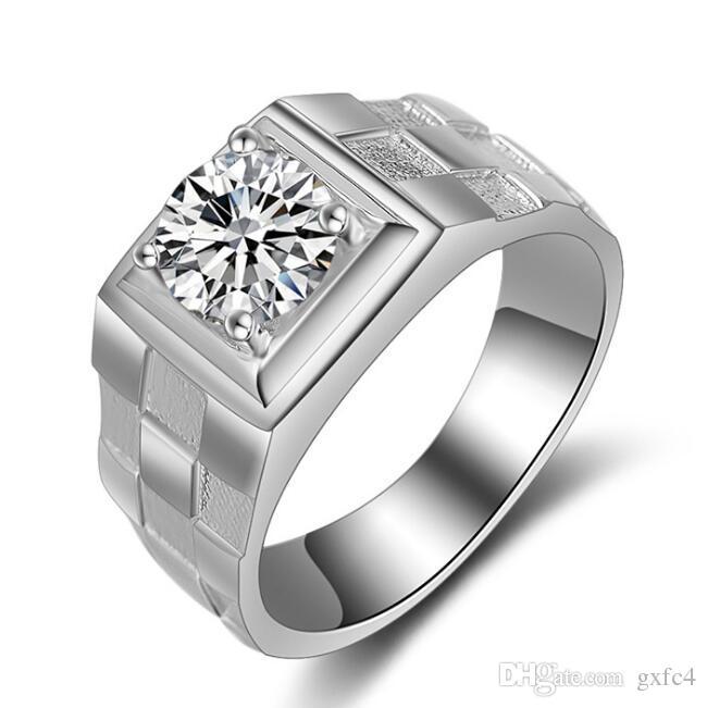 حقيقية 925 خواتم الفضة للرجل الساخن بيع الرجال الزفاف والمجوهرات الدائري 0.75 قيراط الماس تشيكوسلوفاكيا خاتم الخطوبة