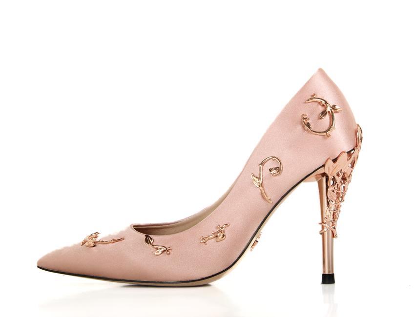 핑크 / 블루 새틴 신부의 결혼식 신발 에덴 펌프 하이힐 저녁 / 무도회 / 파티 253 나뭇잎에 신발