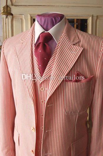 Red Pinstripe Cotton Seersucker Tuxedo Designs Prom Suits For Men