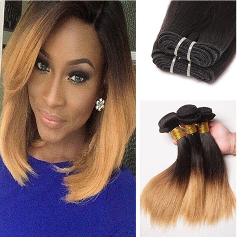 Класс 9A бразильские прямые Ombre человеческих волос расширения 3 шт. #1B 4 27 мед блондинка темные корни Ombre бразильский человеческих волос ткать пучки