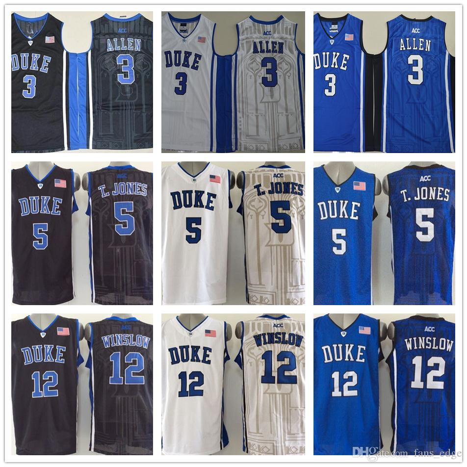 new style 9f413 eab2d 2019 NCAA Cheap Mens #3 Grayson Allen Jersey 5 Tyus Jones 12 Justise  Winslow Blue Black White Duke Blue Devils College Basketball Jerseys From  ...