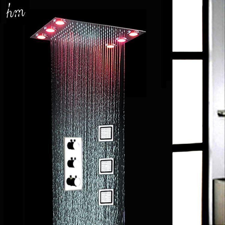KAN Chuva Eletrônica Sistema de Chuveiro LEVOU Frio Quente Esconder Misturador Do Chuveiro 3 Jatos de Corpo Rain Massage Faucet Set Acessórios Do Banheiro 161222 #