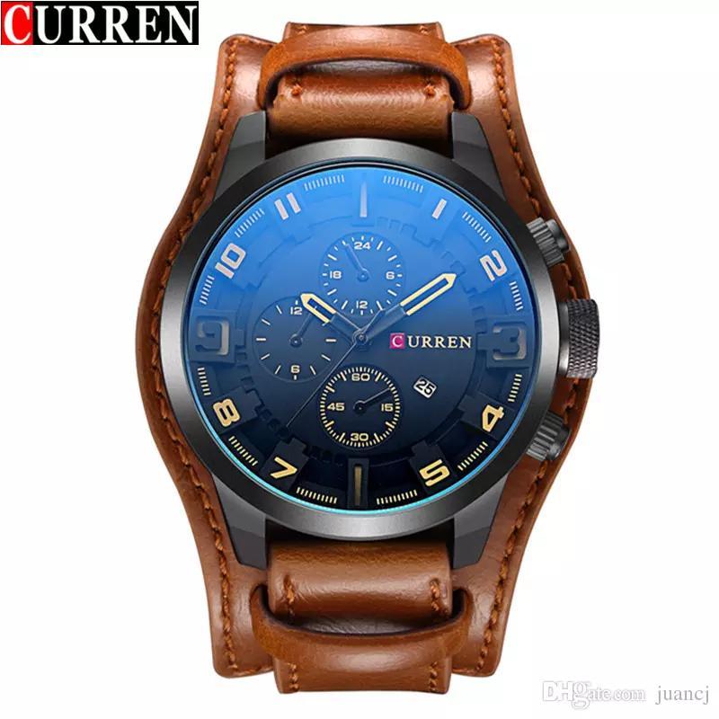 Curren Mens Watches Men's Casual Sport Quartz Watch Luxury Quartz-Watch Leather Strap Military Watch Relogio Masculino Wholesale 8225