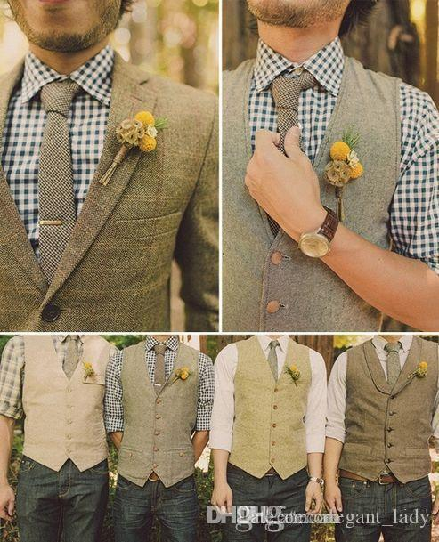 the cheapest hot-selling real unique style 2017 New Wool Tweed Groom'S Wedding Vest Formal Prom Party Vests For Men  Vintage Best Man'S Suit Waistcoats Plus Size Hot Sale Cheap Waistcoat Vest  ...