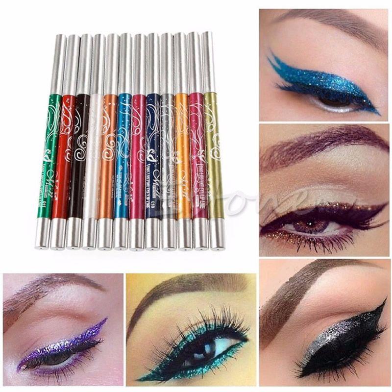 Wholesale- 2016 Mina New 1 Set Professional Eye Shadow Lip Liner Eyeliner Pen Pencil Makeup 12 Color