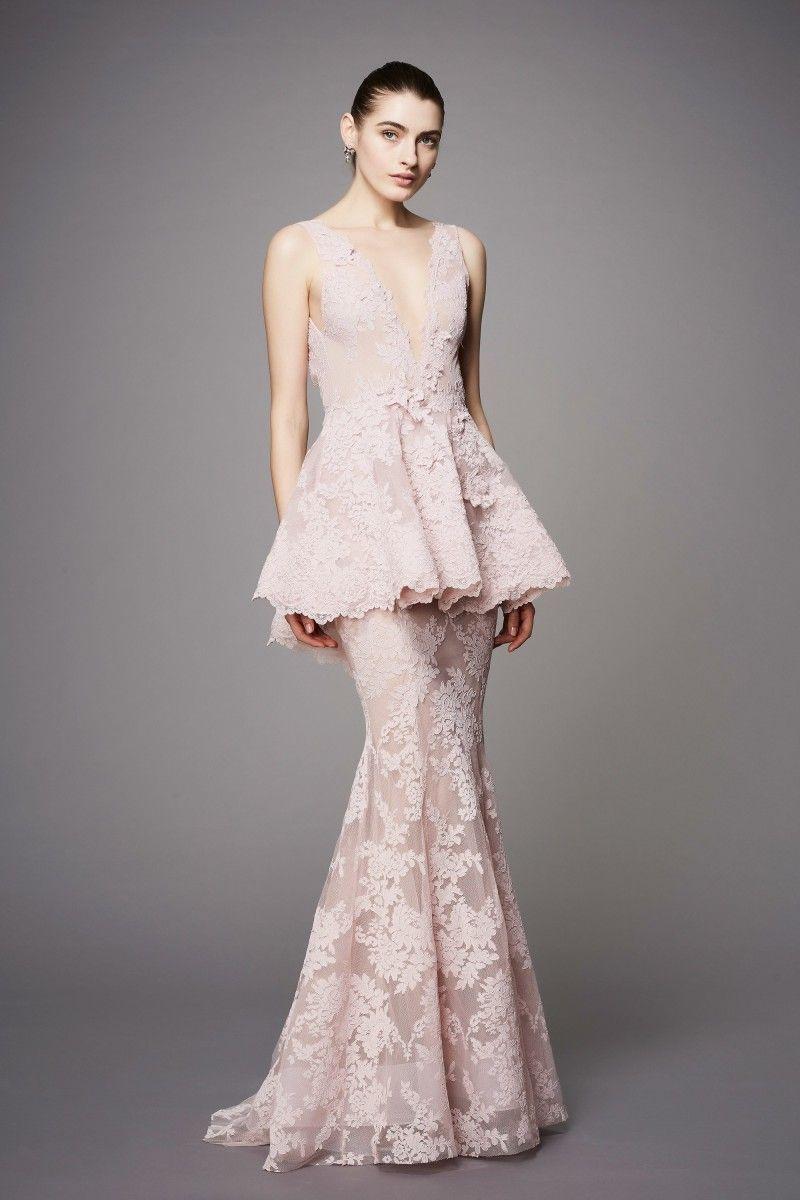 Marchesa 2019 robes de soirée de bal en dentelle roses sirène appliques col en V profonds Peplum à volants partie plissée Robes de célébrité formelles;