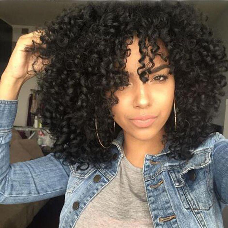 Caliente Afro rizado peluca de pelo humano Simulación rizado rizado peluca con flequillo en stock