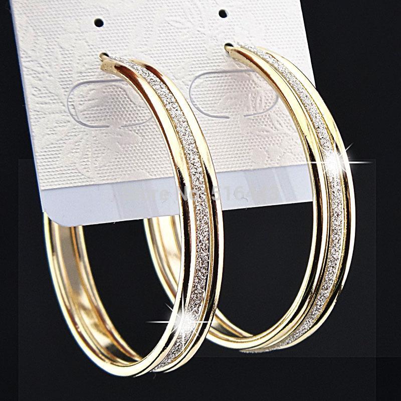 12 Pcs Encantos Moda Venda Quente 3 linhas de Ouro Fosco Grande Brincos de Argola para Womens Nupcial Do Partido Do Partido Jóias B1060