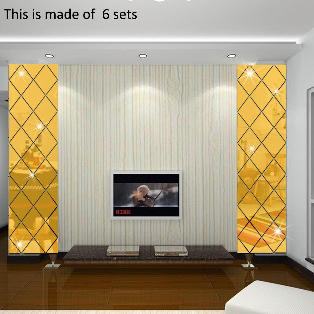 86x56cm Cheap 3d Irregular Pattern Mirror Wall Paste Bedroom Living  -> Sala De Tv Irregular