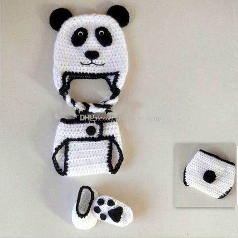 Novelty Adorable Newborn Panda Bear Costume,Handmade Knit Crochet Baby Boy Girl Animal Earflap Hat Diaper Cover and Booties,Infant Photo Pro