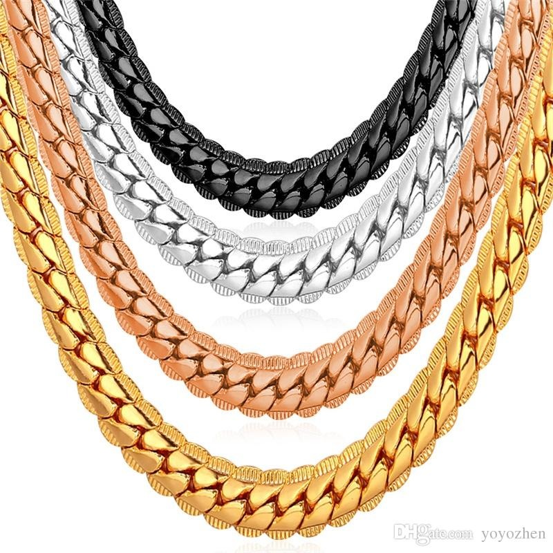 2021 6mm 18 32 Men Gold Chain 18k Yellow Gold Plated Jewelry Curb Cuban Link Chain Necklace From Yoyozhen 6 74 Dhgate Com