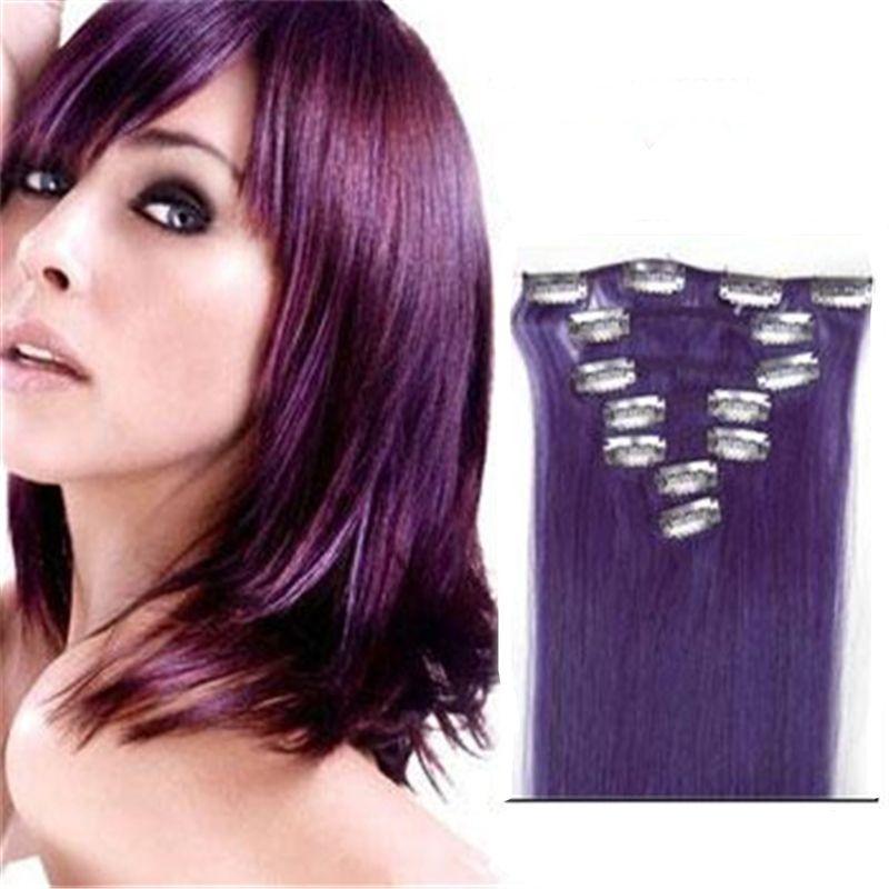 Pince à cheveux droite d'insertion malaisienne Extensions de lila normales Extensions complètes de cheveux de cuticule Double trame