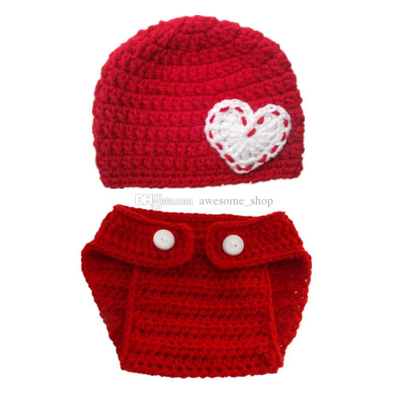Very Cute Valentine's Day Baby Costume,Handmade Knit Baby Boy Girl Red Hat with Heart,Diaper Cover Set,Infant Newborn Photo Prop