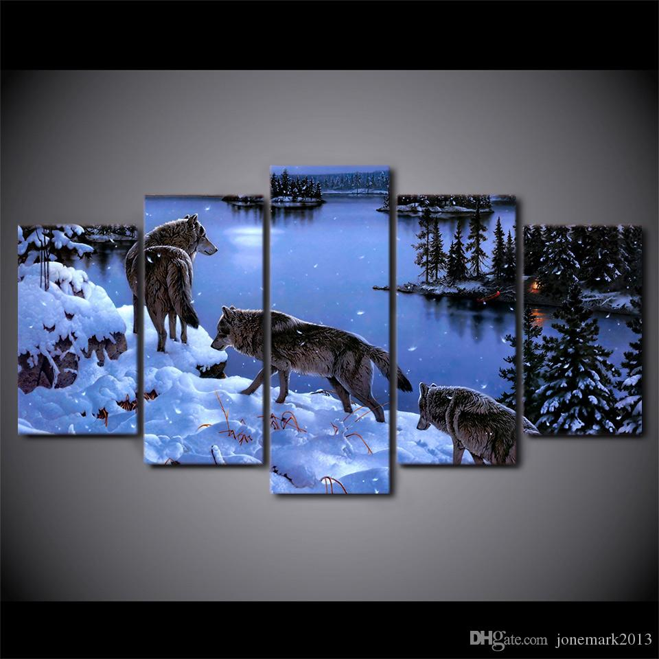5 Pcs/Set Framed HD Printed Snow Wolf lake Painting Canvas Print room decor print poster picture canvas Free shipping/ny-4508