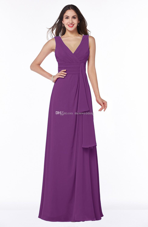 2017 새로운지면 길이 공식적인 들러리 드레스 V-neck 선택적인 색깔 시폰 복장 명예의 하녀 경쟁 가격