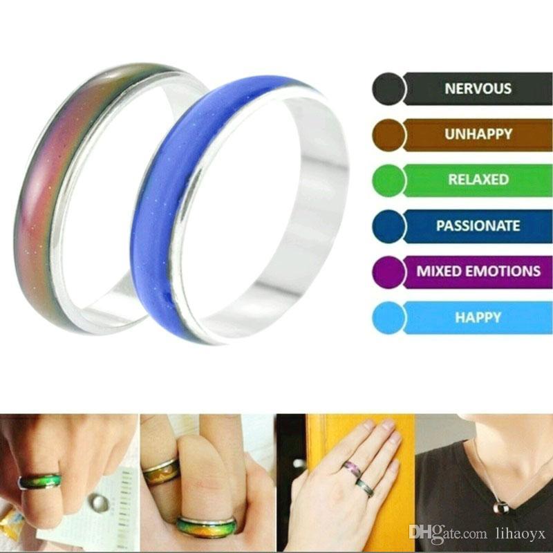 100Pcs / lot Großhandelsschmuck Bulks Mixed Farbe ändert Silber überzogenen Mood Ringe Temperatur Verhalten und Emotionen Ringe für Frauen / Männer