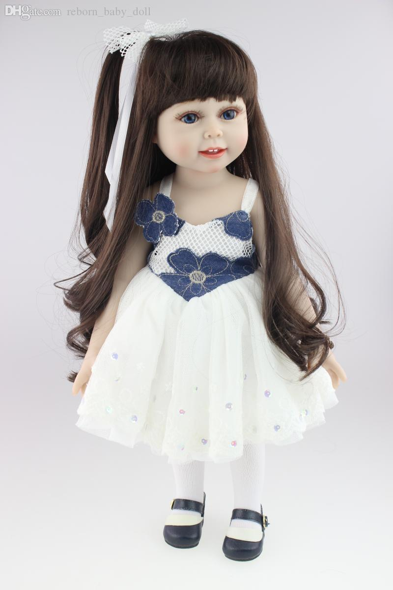 Cabello largo, vestirse, vestirse, encantadora princesa, muñeca, popular en Europa y América, muñeca de 18 pulgadas, niña, regalo de juguete