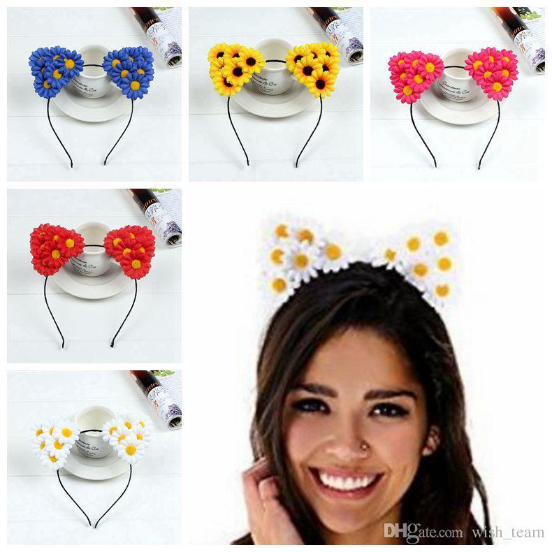 2017 venta caliente del sol flor de orejas de gato aros del pelo para las muchachas de las mujeres moda Headwear flor Hairband niños preciosos accesorios para el cabello