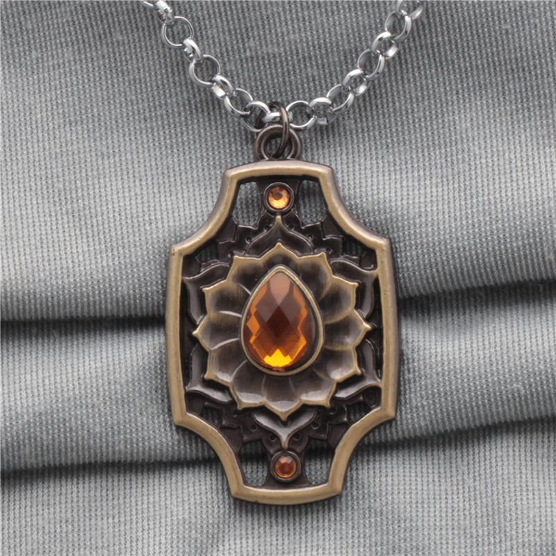 Dota 2 Ember Spirit Necklace & Keychain Bronze Rhinestone Alloy Pendant Necklaces Key Ring For Europe and America Wholesale