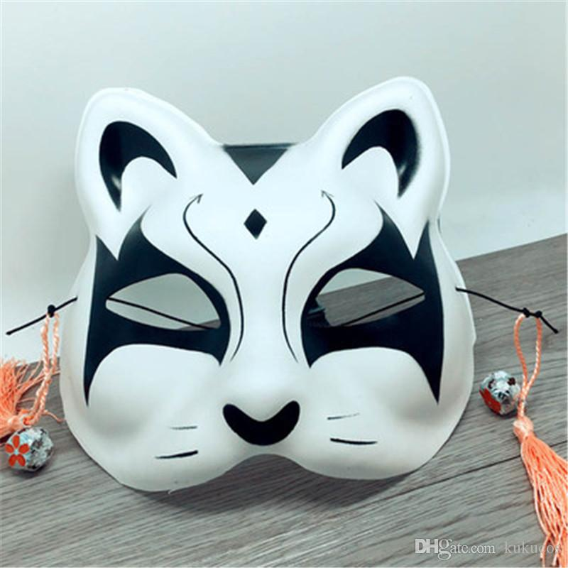 Kukucos Hand Painted Half Face Cat Mask Japanese Style Wind Fox Anime Male And Female Cosplay Party Cat Mask