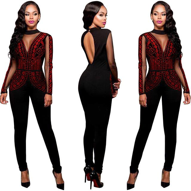 top quality amazing price hot-selling fashion 2019 Wholesale Sexy Sequin Long Sleeve Jumpsuit Women Autumn Winter Mesh  Patchwork Plus Size Skinny Playsuit Full Length Backless Overalls 3XL From  ...