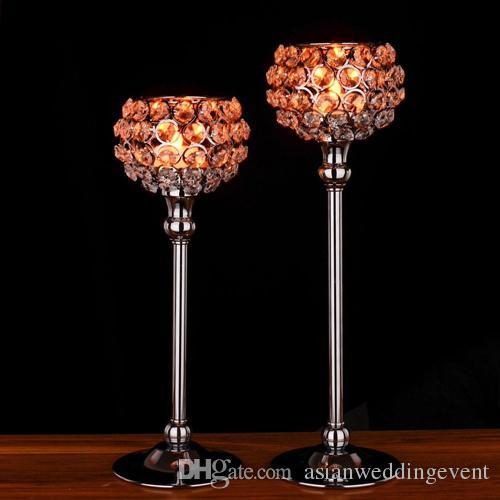 Decoração de casamento de cristal suporte de vela de metal globo de prata home decor mesa de centro de peças de candelabro