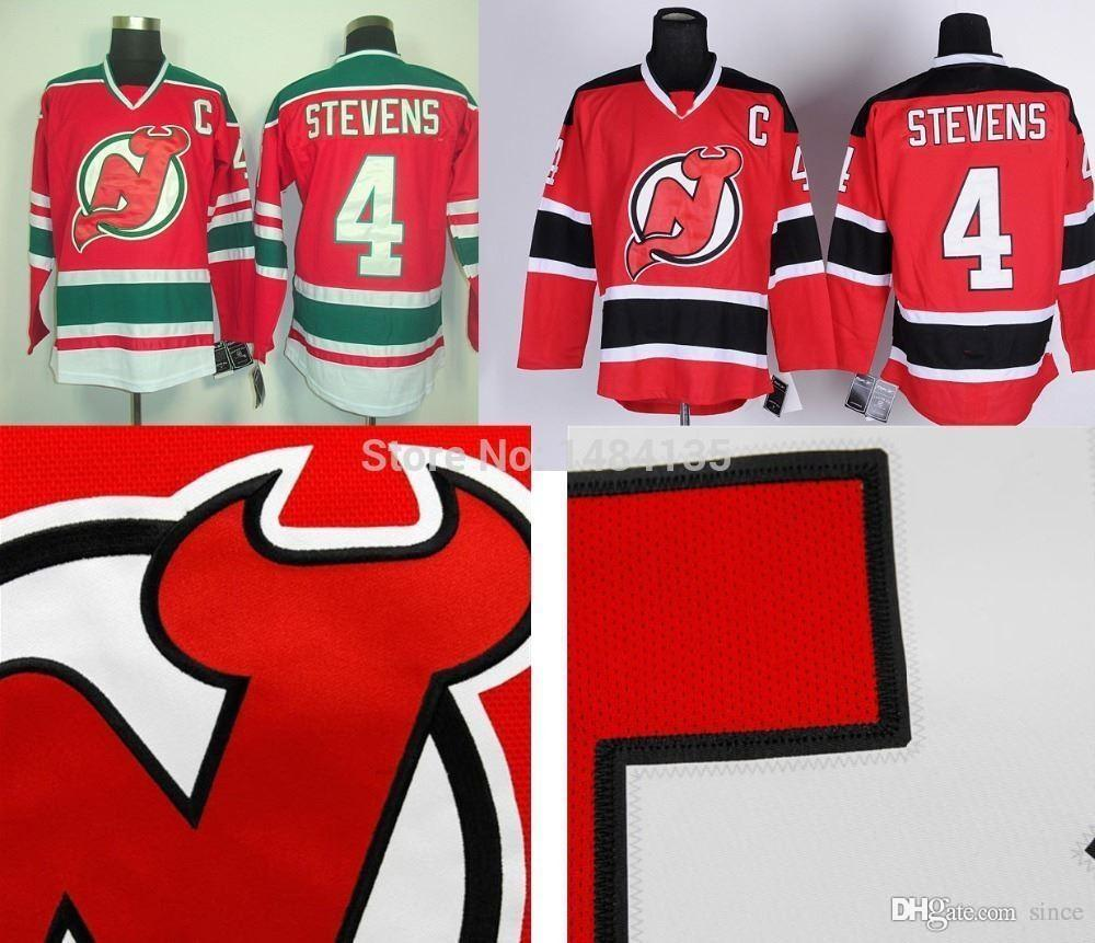 2016 새로운 하이 Q 망 뉴저지 악마 저지 # 4 Scott Stevens 유니폼 팀 색상 레드 / 화이트 / 블랙 스티치 저지 자수 로고