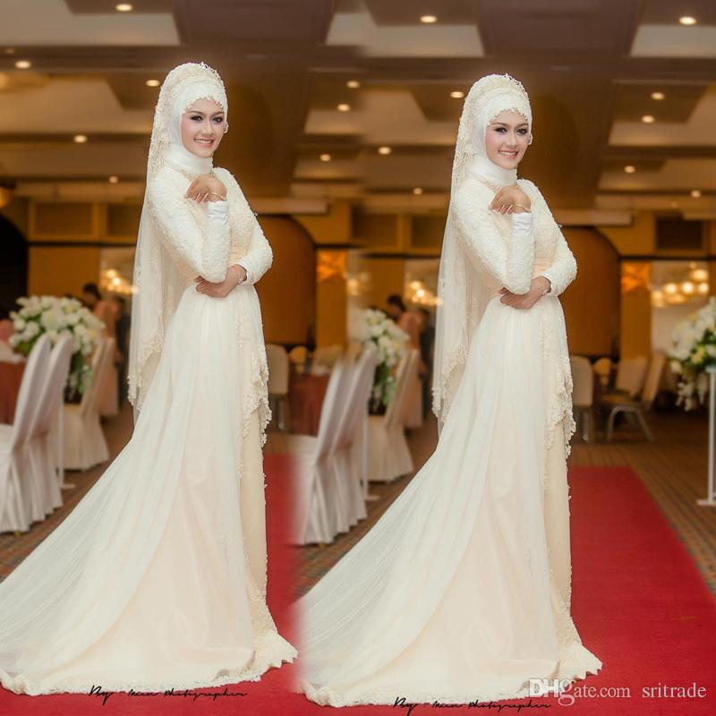Abito da sposa musulmano arabo con lunga scia di lusso maniche maniche abiti da sposa velo musulmano Robe De Mariage