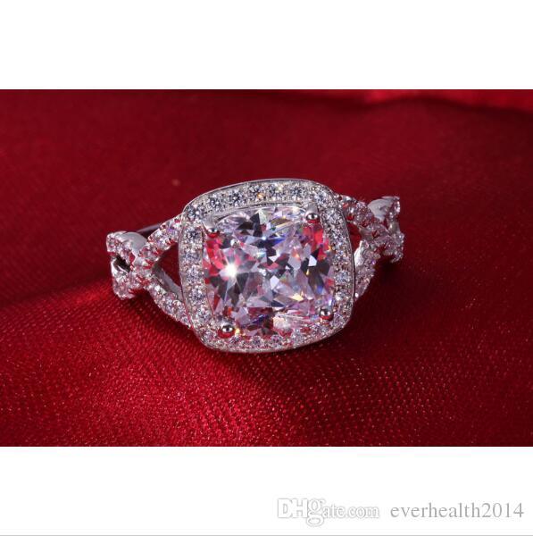 높은 품질 도매 3 캐럿 고급 다이아몬드 결혼 반지 지속 샤인 약혼 반지 쿠션 컷 925 실버 18K 화이트 골드 커버 링