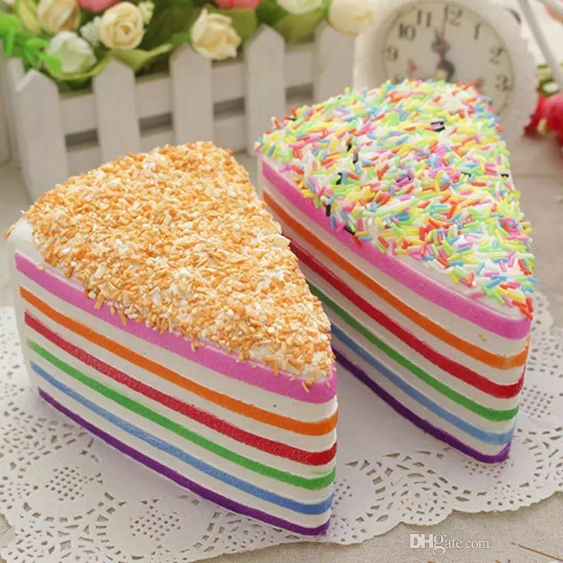 Jumbo Rainbow Gefälschte Kuchen Dekorieren Squishy Crumble Fusion Kawai Langsam Steigender Lebensmittel Hochzeit Fotografie Spielzeug Telefon Strap 14 cm
