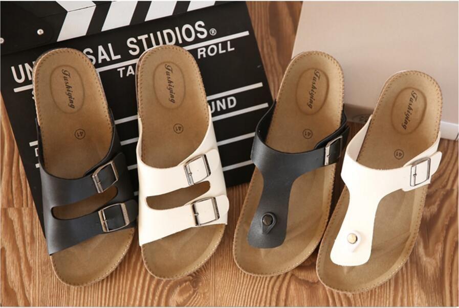 Оптово-Горячий продавать! Мужские пробковые сандалии летом сандалии тапочки случайные сандалии для женщин подлинной вьетнамки белый черный размер США 5.5-9.5