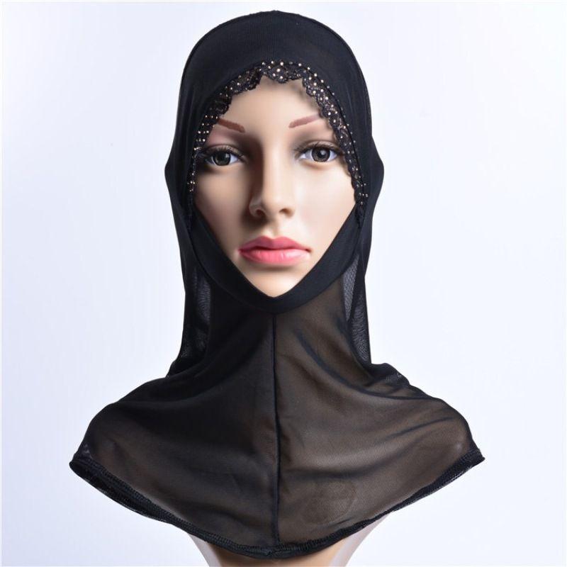 43x30cm Muslim Hijab Headwear Full Cover Underscarf Islamic Scarf Black Shawl Arabic Headband Lace Hollow Out Cap Wrap