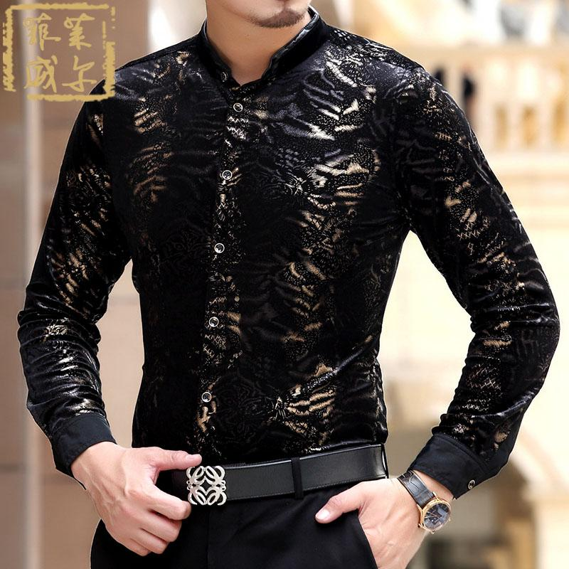 Al por mayor-2016 Camisas Social Masculina Chemise Slim Fit terciopelo negro vestido de oro Camisas de impresión Leopard Camisas de seda de terciopelo de lujo para hombre Luxo