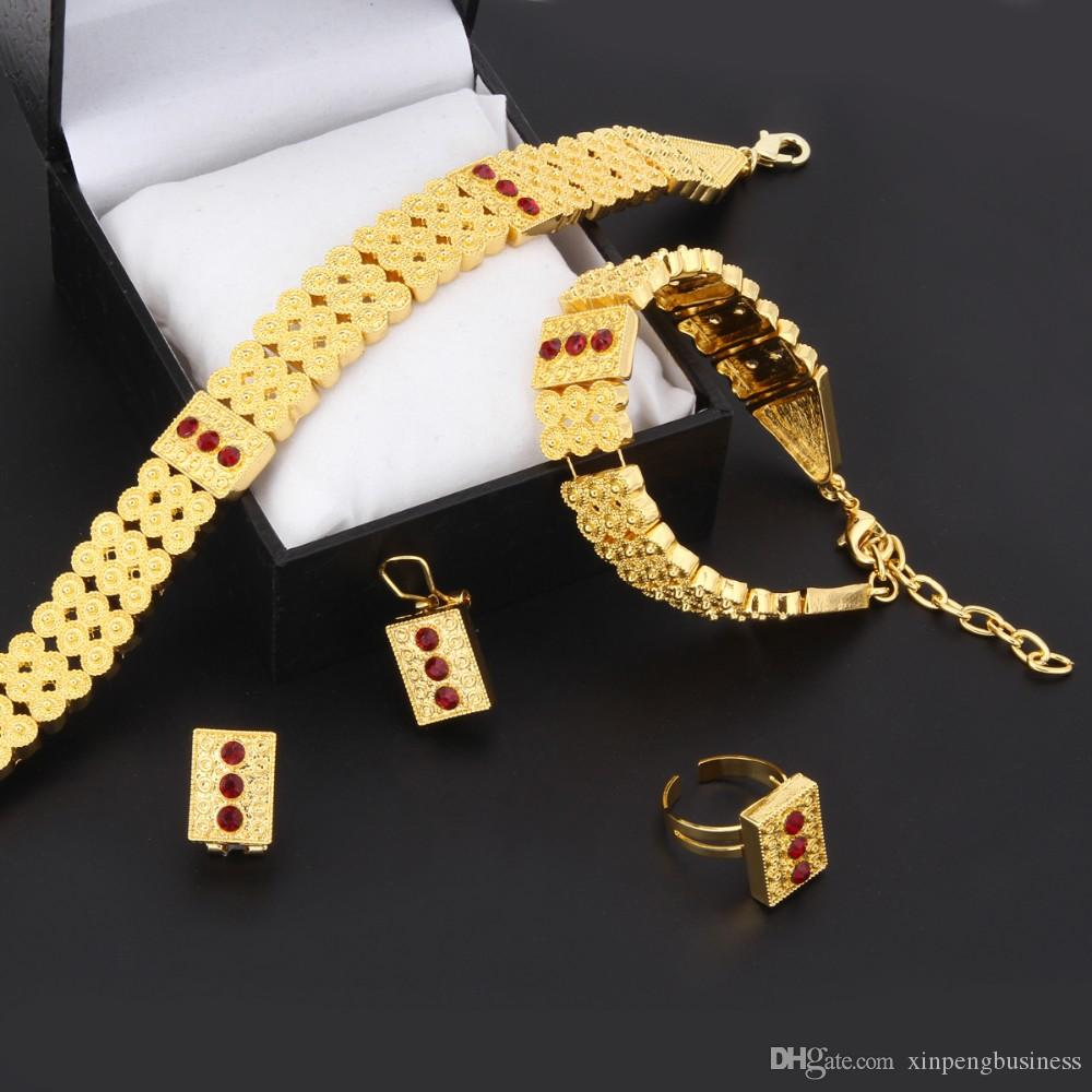 New Jewelry Neck Chokers Top 24k Real Yellow Solid gold GF Necklace Bracelet Earring Ring Sets Eritrea Habesha Africa Women Heavy Thick