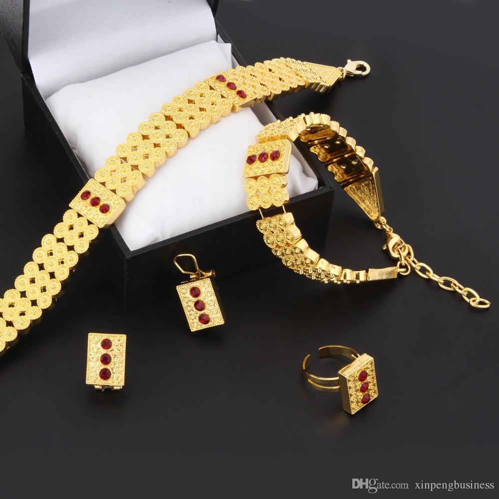 Nuovi Girocolli Gioielli Top 24k Oro giallo massiccio reale GF Collana Bracciale Anello Orecchini Imposta Eritrea Habesha Africa Donna Pesante Spessa