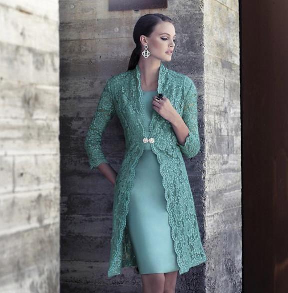 Elegant 2019 Carla Ruiz Knee Length Mother Of The Bride Dresses With Long Lace Jacket Teal Stain Mother Of Groom Dresses EN12212