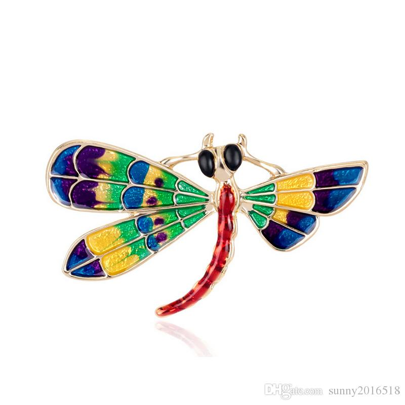 Hot New Colorful Enamel Dragonfly Brooches for Women Dress Animal Brooch Pins Gold Plated High Quality Alloy Pin Jewelry Wholesale