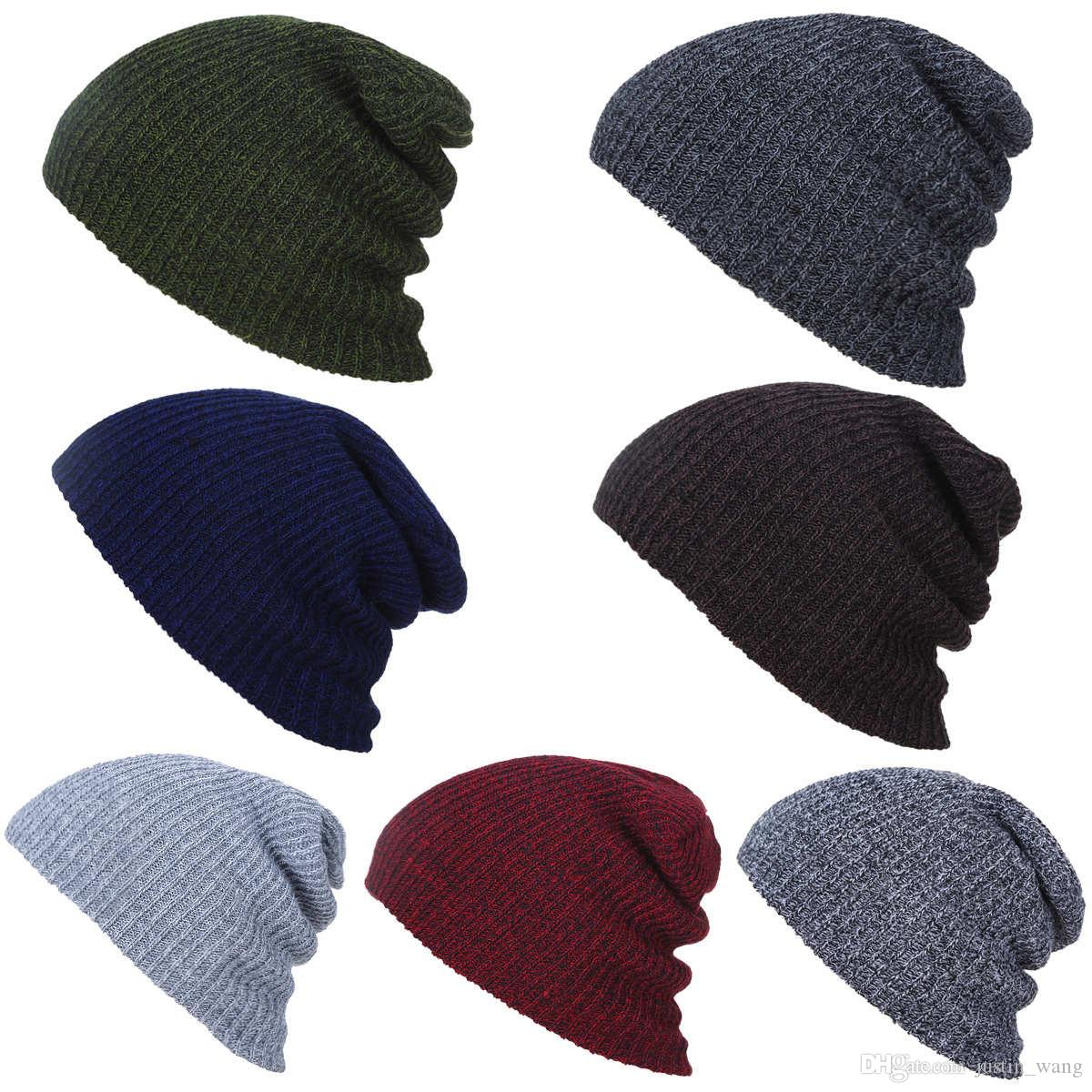 Skull caps winter Knitted hats warm Solid color beanie outdoor wool cap for women wrinkle knitting hats