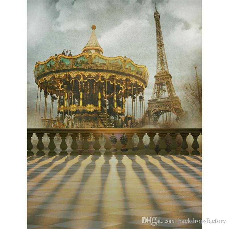 Vergnügungspark Kinder Fotografie Hintergrund grauen Himmel Karussell Eiffelturm Hintergrund Kinder Fotostudio Hintergründe Jahrgang