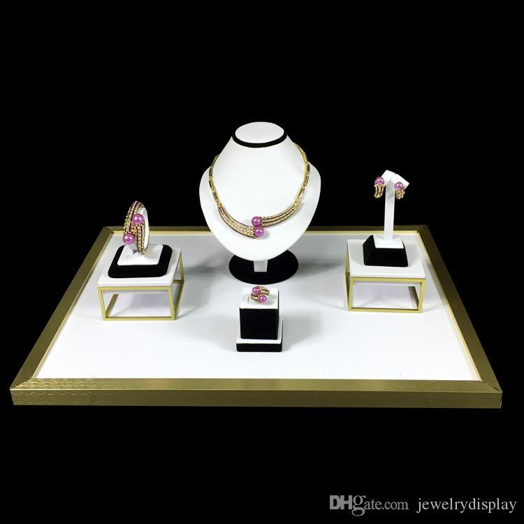 مجموعات المجوهرات عرض متفوقة الفولاذ المقاوم للصدأ معرض أسود أبيض بو خاتم القرط المنظم قلادة تمثال نصفي مجموعة 52 * 38 * 20 سم