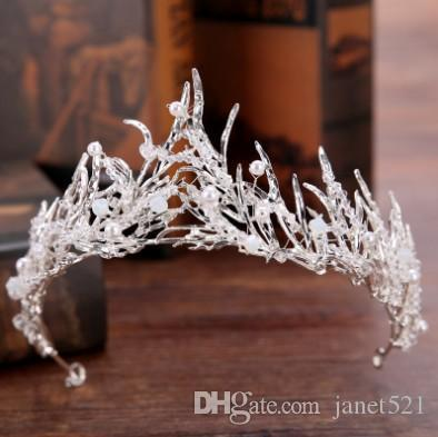 Baroque Bridal Crown Tiara Optional Color Branch Crystal Decorated Wedding Hair Accessories Hair Jewelry Bridal Head Pieces