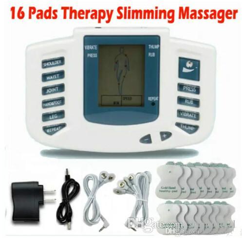 Electrical Stimulator Full Body Relax Muscle Terapia Massageador Massagem dezenas de pulso de acupuntura Health Care Máquina 16 Pads