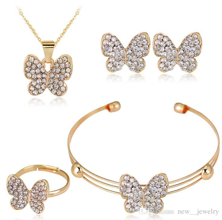 Full Rhinestone Butterfly Earrings Crystal Wedding Ring Butterfly Pendant necklaces Set Women Evening Jewelry Bride Wedding Jewelry Set
